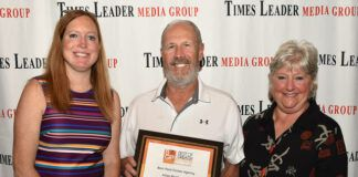 Atlas Realty, Inc. was named Best Real Estate Agency in the Best of Greater Pittston awards. Seen from left at The Red Mill during Tuesday's awards event are: Kerry Miscavage, Times Leader Media Group Vice president, Sales and Marketing, Charles Adonizio of Atlas Realty and Karen Adonizio.                                  Tony Callaio   For Times Leader