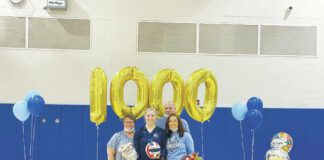 Berwick's Morgan Nevel, center, was honored prior to Tuesday's match against Delaware Valley for recording her 1,000th career assist earlier this week.                                  Submitted photo