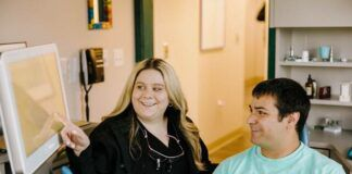 Dr. Christa Musto is seen with a patient at Nataupsky Family Dentistry in Kingston.                                  Submitted