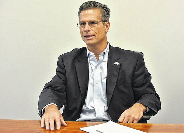 U.S. Rep. Dan Meuser, seen at the Times Leader offices in this file photo, has decided he won't run for governor of Pennsylvania.                                  Times Leader file photo