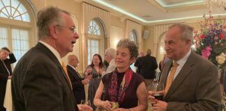 Charles Barber, former President/CEO of the Luzerne Foundation, chats with Jackie and Jim Brozena at Wednesday night's dinner honoring Barber for his 21 years of service. The event was held at the Westmoreland Club in Wilkes-Barre.                                  Bill O'Boyle | Times Leader