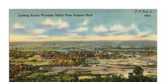 An artist drawing of the Wyoming Valley from Prospect Rock in Laurel Run. Boston Public Library